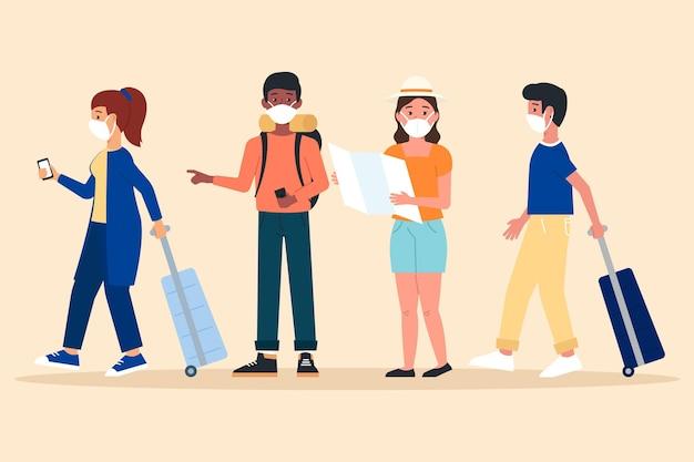 Turistas con mascarillas vector gratuito