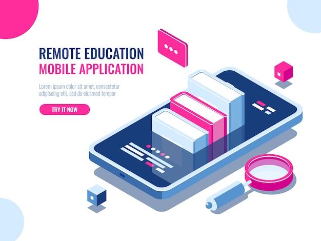 Tutorial sobre aplicación de telefonía móvil, educación en línea, curso de internet, búsqueda de datos. vector gratuito
