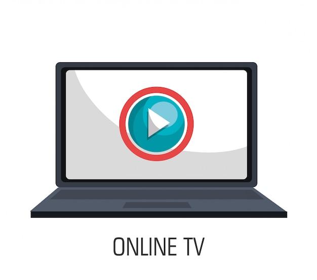 Tv en linea vector gratuito