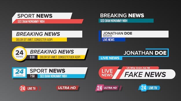 Tv news bars set Vector Premium