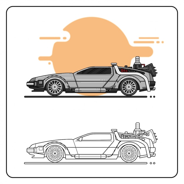 Twin turbo grey car easy editable Vector Premium