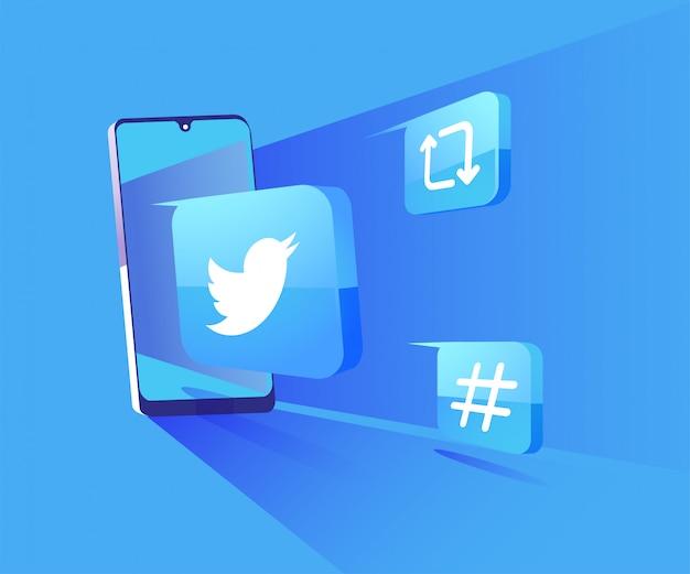 Twitter 3d redes sociales con ilustración de símbolo de teléfono inteligente Vector Premium