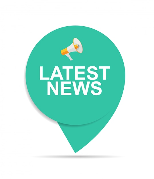 Últimas noticias firmar icono de etiqueta con megáfono Vector Premium
