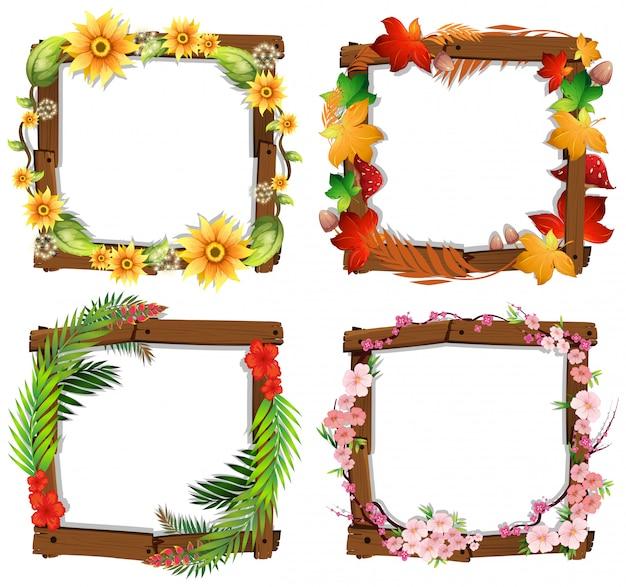 Un conjunto de marco de madera de flores | Descargar Vectores Premium