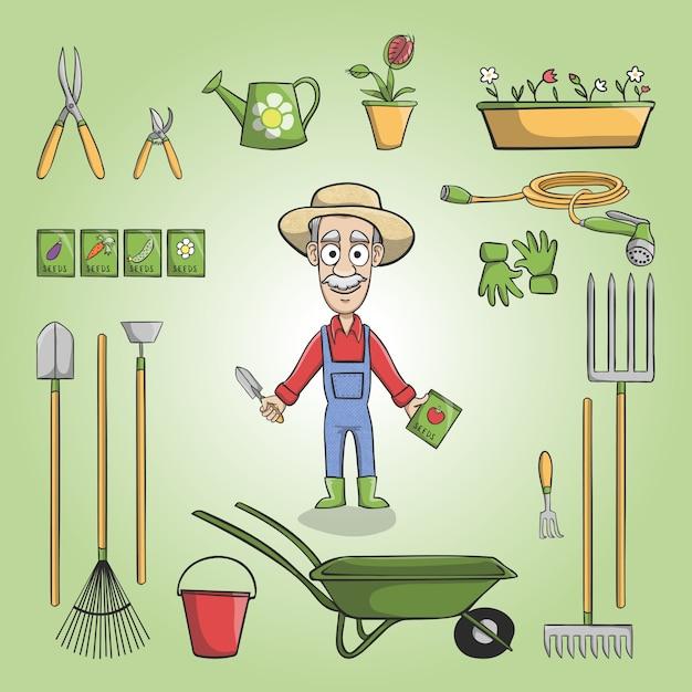 Un granjero con sus herramientas descargar vectores gratis for Trabajo jardinero