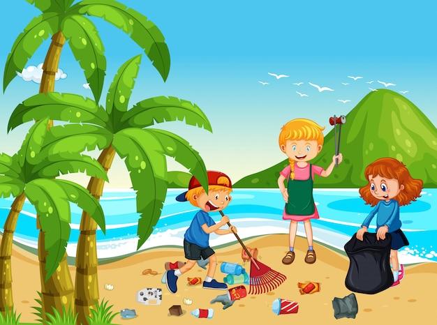 Dibujos Del Cuidado Del Medio Ambiente Finest Publicado: Un Grupo De Niños Voluntarios Limpiando La Playa