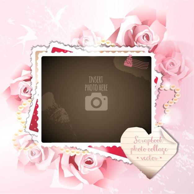 Un marco romántico sobre un fondo con rosas Vector Gratis