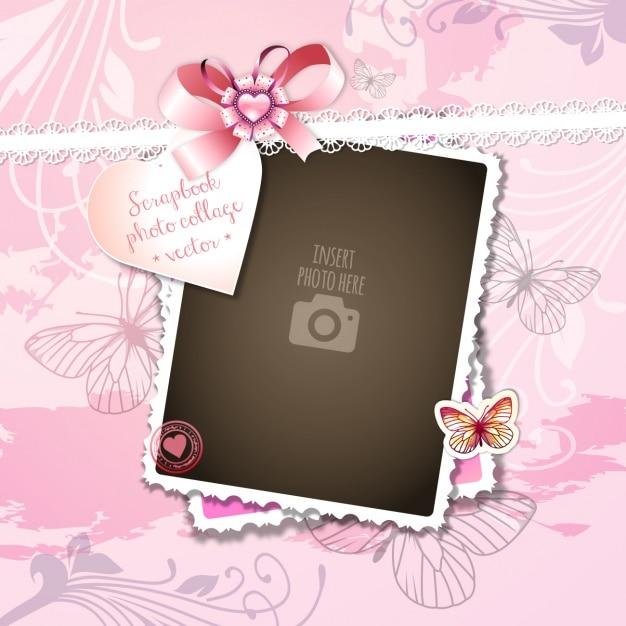 Un marco romántico sobre un fondo rosa Vector Gratis