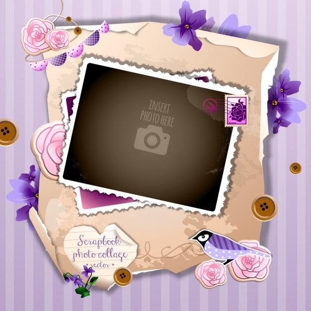 Un marco romántico sobre un fondo violeta Vector Gratis