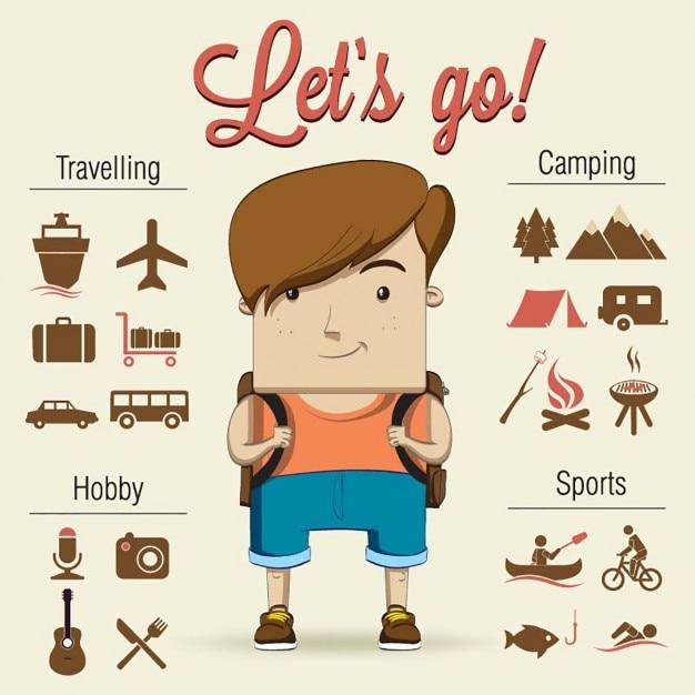 Un niño va de camping con fantásticos accesorios Vector Gratis