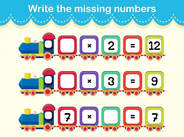 Una hoja de trabajo de números matemáticos | Descargar Vectores Premium