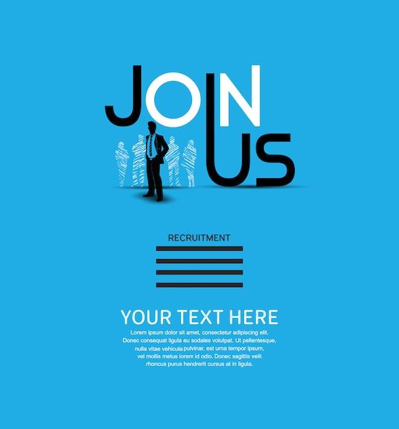 Únete a nosotros cartel fondo azul Vector Premium