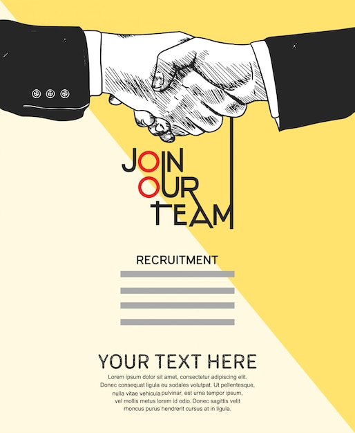 Únete a nuestro cartel concepto de equipo Vector Premium