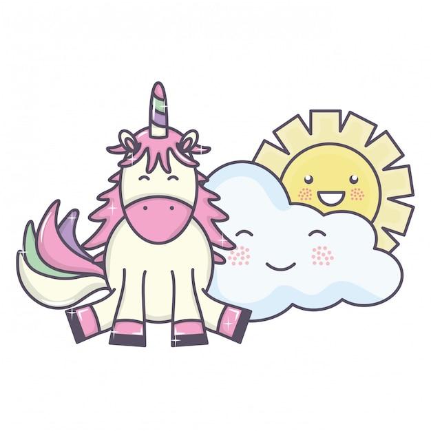 Unicornio adorable lindo y nubes y sol kawaii personajes vector gratuito