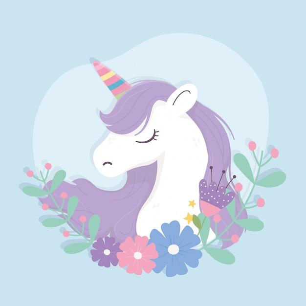 Unicornio arcoiris cuerno y flores fantasía magia sueño lindo dibujos animados fondo azul ilustración Vector Premium