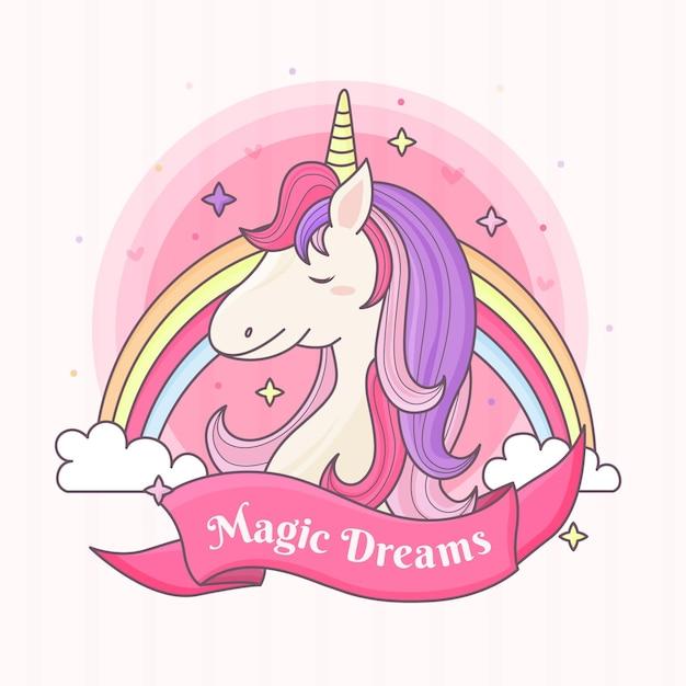 Unicornio con arcoiris Vector Premium
