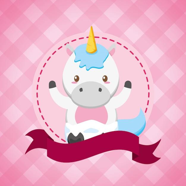 Unicornio para baby shower vector gratuito