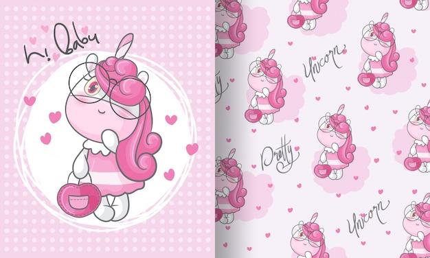 Unicornio de belleza encantadora ilustración de patrones sin fisuras para niños Vector Premium