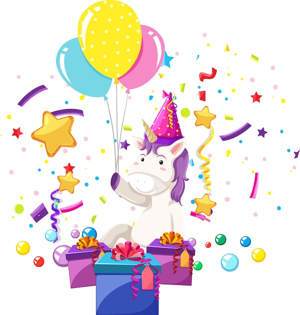 Un unicornio celebrar cumpleaños vector gratuito