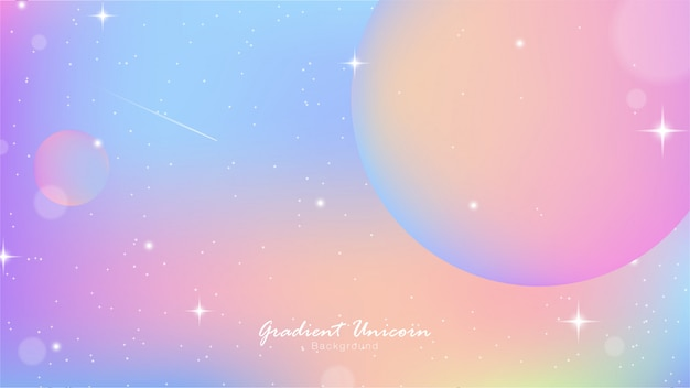 Unicornio cielo colorido gradiente Vector Premium