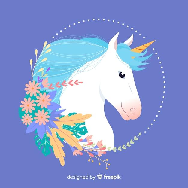 Unicornio con hojas y flores vector gratuito
