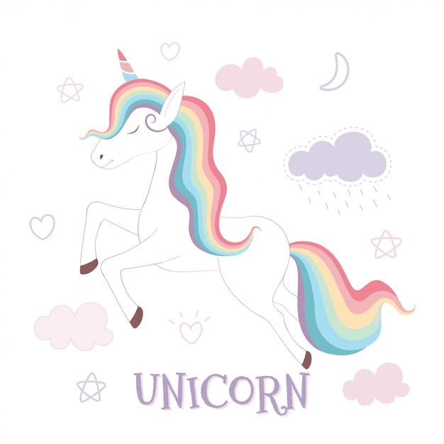 Unicornio lindo y arco iris en fondo rosado del cielo Vector Premium