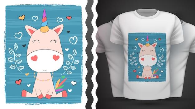 Unicornio lindo para camiseta estampada Vector Premium
