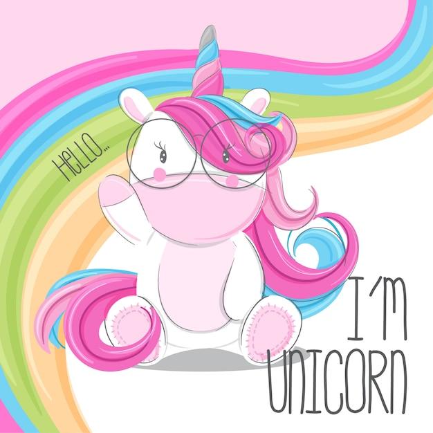 Unicornio lindo dibujado a mano ilustración-vector Vector Premium