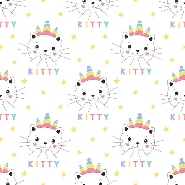 Unicornio lindo gatito de patrones sin fisuras Vector Premium