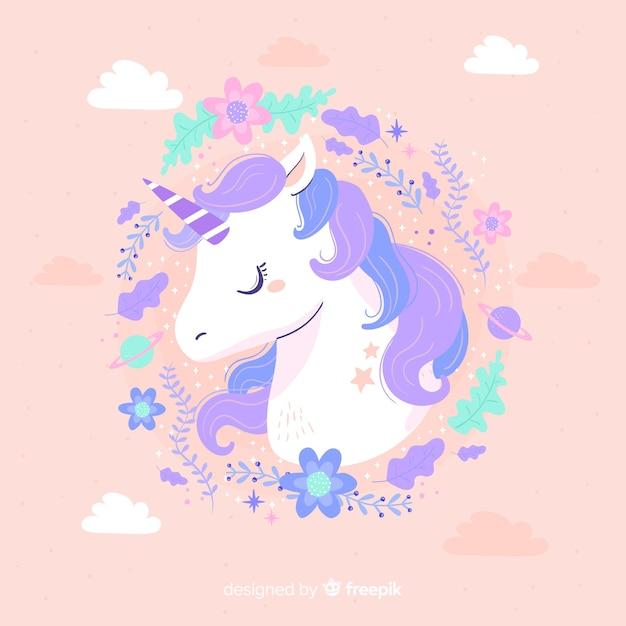 Unicornio lindo con marco de color pastel vector gratuito