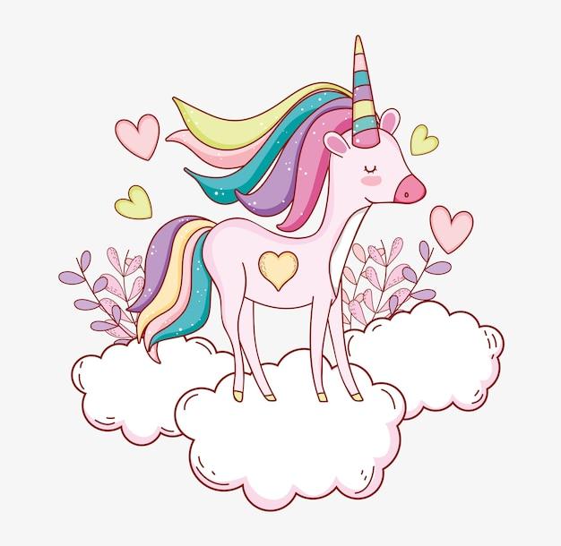 Unicornio lindo en la nube con corazones y plantas Vector Premium