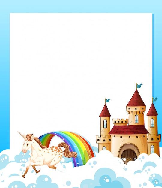 Unicornio y marco de plantilla de castillo vector gratuito