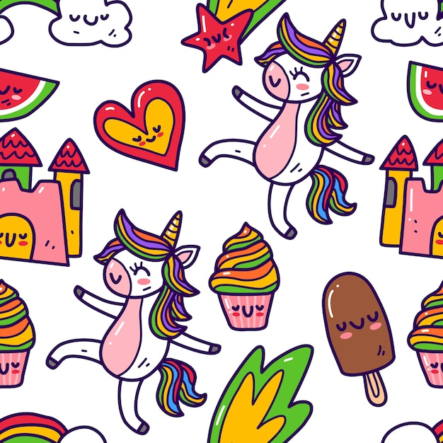 Unicornio en patrones sin fisuras de estilo doodle Vector Premium