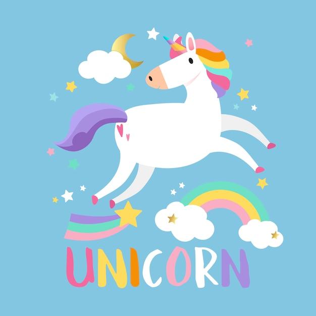 Unicornio con vector de elementos mágicos. vector gratuito