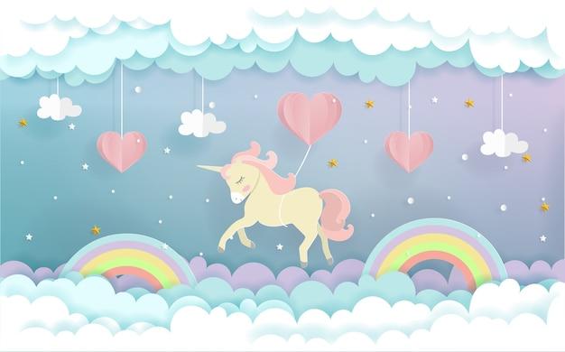 Un unicornio volando con globos de corazón Vector Premium