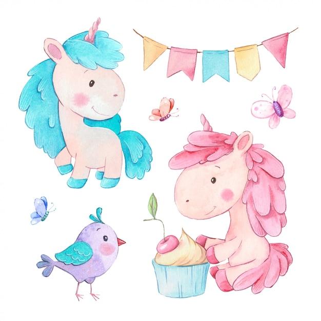 Unicornios de dibujos animados acuarela con cupcake y accesorios de cumpleaños Vector Premium