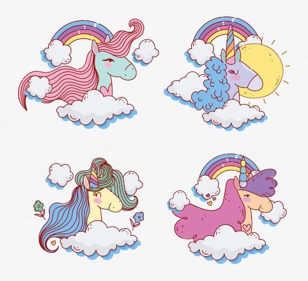 Unicornios Lindos Arco Iris Día Soleado Cielo Flores