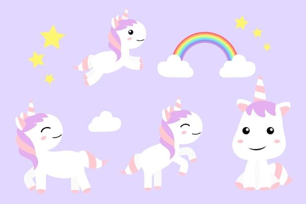 Unicornios Lindos Dibujos Animados Diversión Feliz