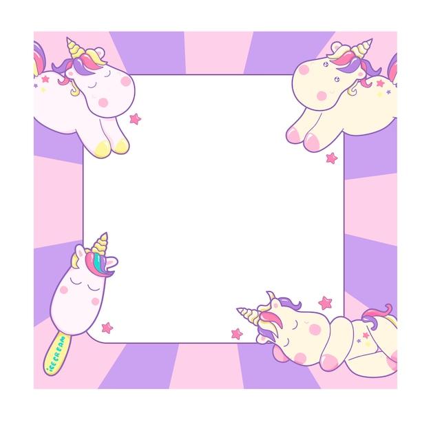 Unicornios lindos y diferentes elementos mágicos y diseño de fondo rosa pastel, con espacio para texto y dibujo para niños Vector Premium