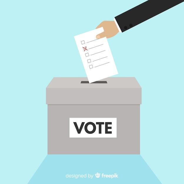 Urna de elecciones moderna con diseño plano vector gratuito