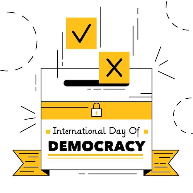 Urna ilustrada para el día de la democracia vector gratuito