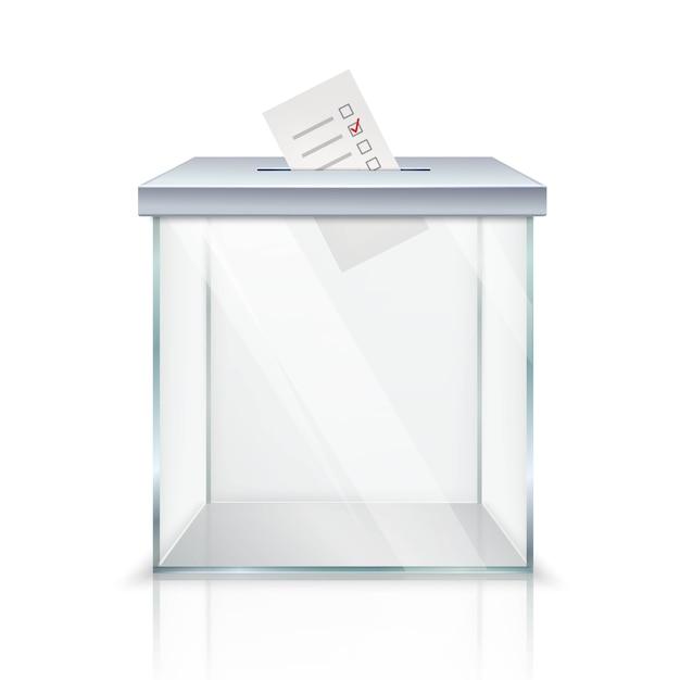 Urna transparente vacía realista con papeleta marcada en el agujero vector gratuito