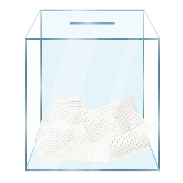 Urna de vidrio con documentos de votación Vector Premium