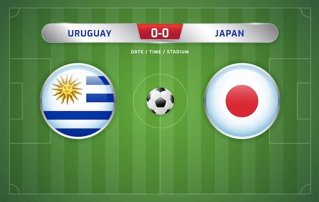 Uruguay vs japón marcador de fútbol emitido torneo de sudamérica 2019, grupo c Vector Premium
