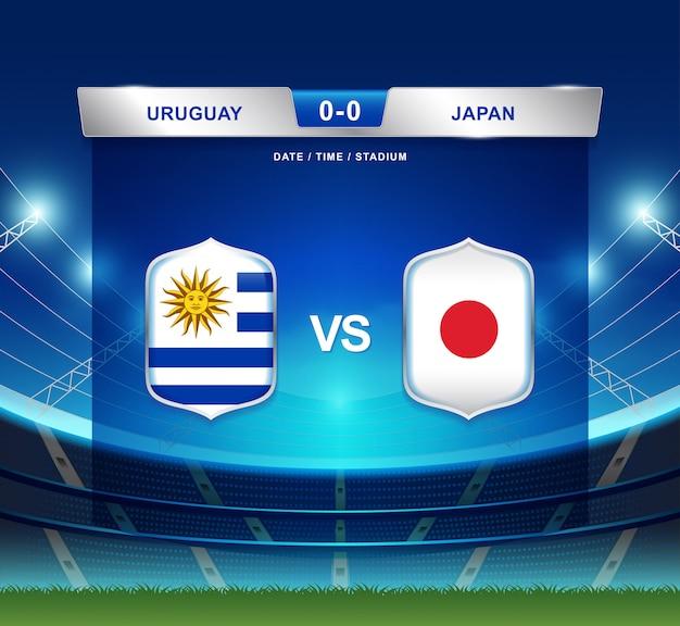 Uruguay vs japón marcador fútbol fútbol américa américa Vector Premium