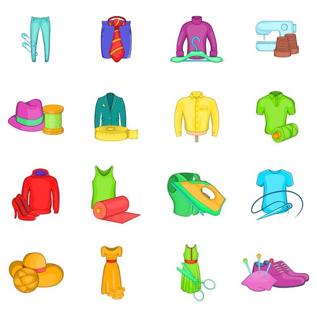 Use conjunto de iconos, estilo de dibujos animados Vector Premium