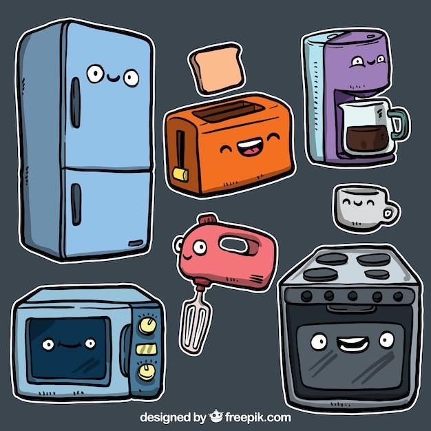 Utensilios de cocina en estilo de dibujos animados vector gratuito