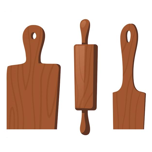 Utensilios de cocina de madera para cocinar vector gratuito