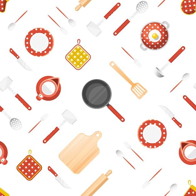 Utensilios de cocina de patrones sin fisuras vector gratuito