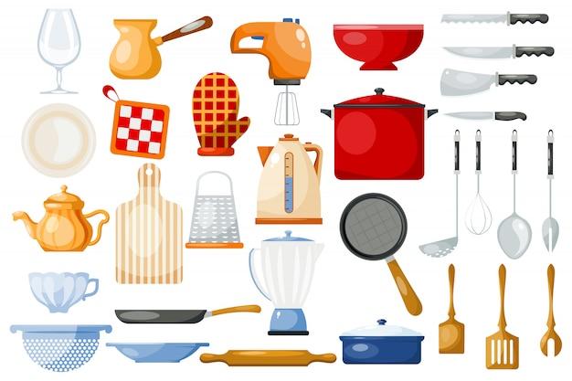Utensilios de cocina utensilios de cocina para cocinar y utensilios de cocina o cubiertos para vajilla de cocina en el juego de cocina Vector Premium